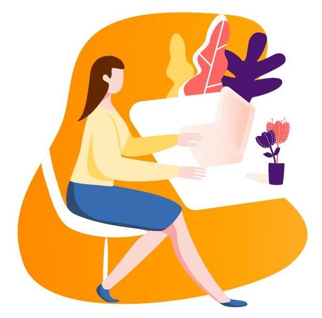 ilustración trabajo con ordenador