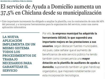 Chiclana implanta Gesad ante el incremento de usuarios de su Servicio de Ayuda a Domicilio